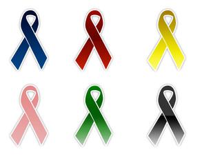 A set of awareness ribbons