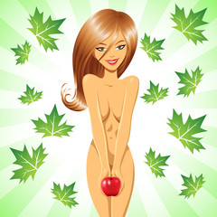 Eve smiling and holding a red apple with green leaves