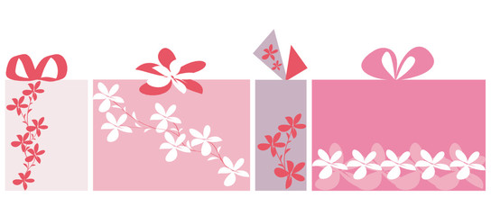Isolated giftbox set with floral design