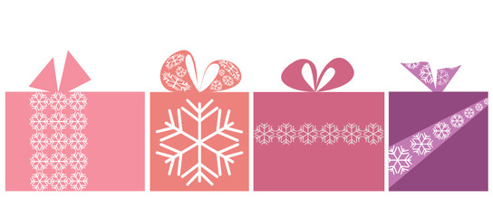 Isolated giftbox set with snowflake