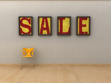 Minimalist style sale graphic. poster