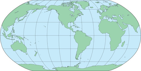 Robinson World Map Americas Centered - Vector Illustration