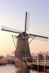 Ancient  windmill at Kinderdijk in the Netherlands
