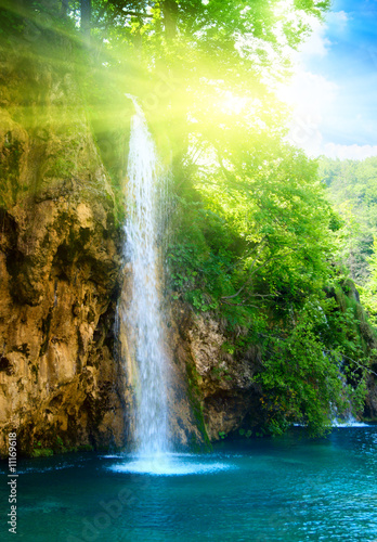 waterfall in deep forest - 11169618