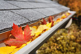 Rain Gutter full of leaves poster