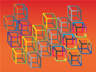 colorful illogical cubes