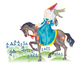 A lady-hunter rides on flowerings taffies