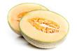 Zwei Hälften von Netzmelone