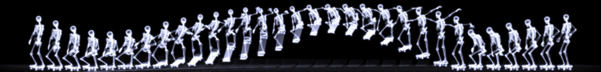 Xray of human skeleton jumping freestyle in halfpipe
