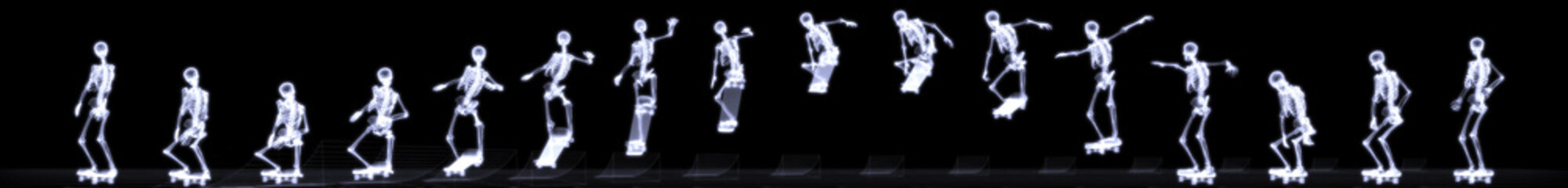 Xray of human skeleton jumping freestyle