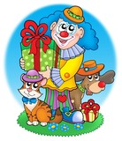 Circus clown with pets poster
