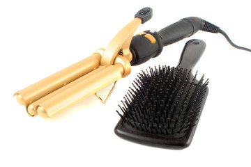 curling iron and brush