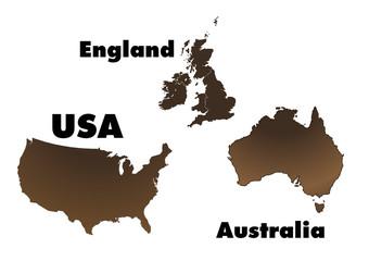 USA, England and Australia