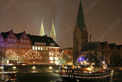 Leinwanddruck Bild An der Schlachte in Bremen, Weihnachtszeit