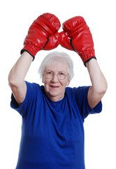 Senior woman winner boxing