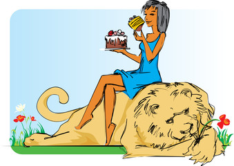 Girl with lion and cake.