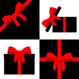 Red parcel collection with ribbon poster