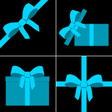 Blue parcel collection with ribbon poster