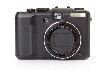 black digital compact camera isolated on white
