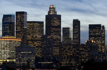 Los Angeles Skyline in Early Evening.