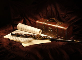 Still Life with Flute and notes, painted light brush