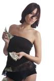 The girl undresses for money poster