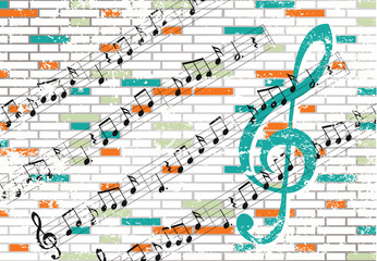 Brick wall and musical notes