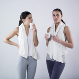 women drinking  after effort poster
