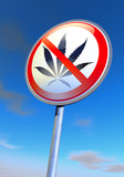 No drugs sign against the blue sky poster