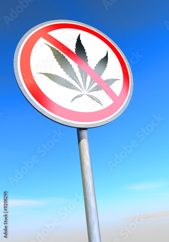 poster of No drugs sign against the blue sky