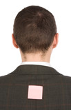 businessman with sticker on his back poster