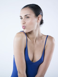 sensual woman sending a kiss poster