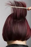 Hairdresser combing poster