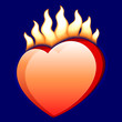Vector burning heart