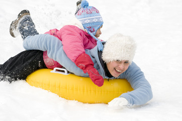 Playing on snow