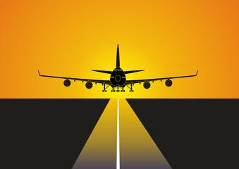 Avion aterrizando en el aeropuerto