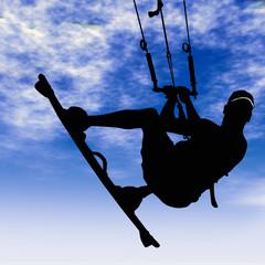 Joven practicando kite surfing