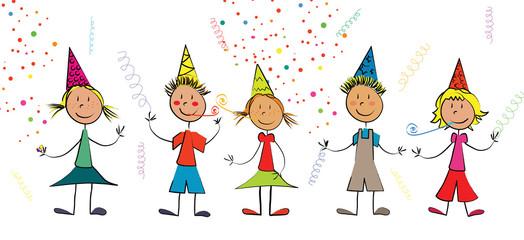 enfants fête confettis