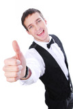 waiter showing sign okay poster