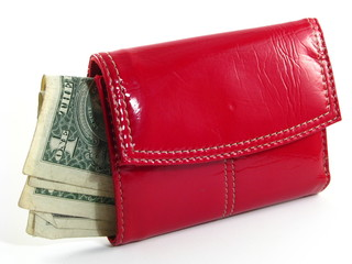 Woman's Red Wallet with Dollar Bills