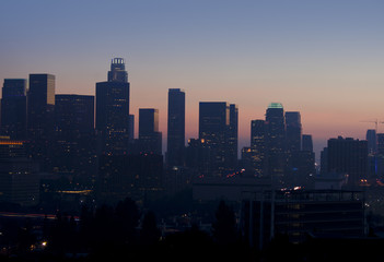 Hazy View of Los Angeles Skyline at Sunset