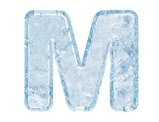 Ice font. Letter M.Upper case
