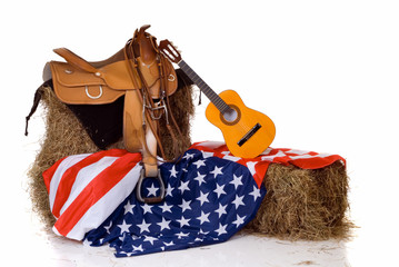 Fourth of July saddle and flag