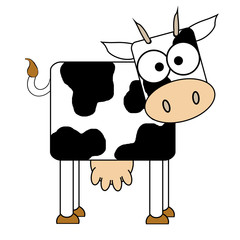 Cow Cartoon - Isolated On White