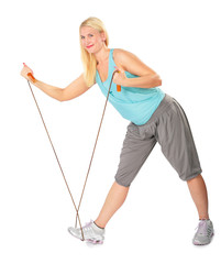 Woman practises with a skipping rope
