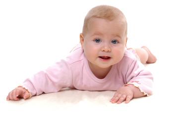 Baby sechs Monate alt, blond und blaue Augen