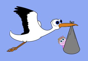 Stork Bringing New Life - Isolated On Blue