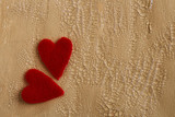 two fluffy hearts on cracked painted background poster
