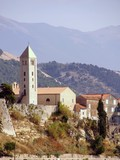 the bell tower of St John in Rab town in Croatia poster