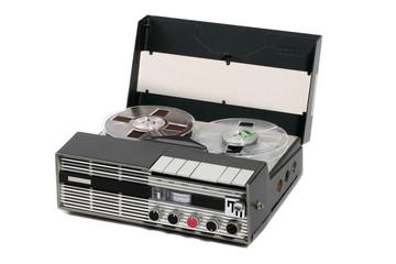 retro portable open reel tape recorder